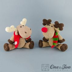 Reindeer and Moose Amigurumi Crochet Pattern by One and Two Company ❥Teresa Restegui http://www.pinterest.com/teretegui/❥