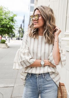 Flutter Sleeved Striped Top