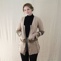 Beige Upcycled Cashmere & Wool Cardigan Jacket with zip front. Beige needn't be boring! Unique design using recycled knitwear by The Woolly Pedlar
