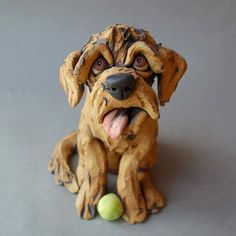 Labradoodle or Goldendoodle Dog with Tennis Ball by RudkinStudio Dog Sculpture, Sculptures, All About Puppies, Bull Terrier Dog, Goldendoodle, Dog Breeds, Sculpting, Animal Anatomy, Ceramics