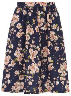 Alice & you Navy Floral Midi Skater Skirt - Jupes - Vêtements