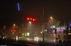 Horrendous conditions: Traffic makes its way along Blackpool Promenade in Lancashire during high winds