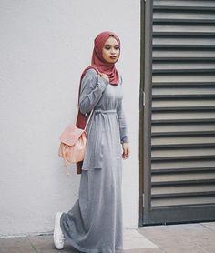 Pinterest: @eighthhorcruxx. Grey jersey belted abaya and hijab.