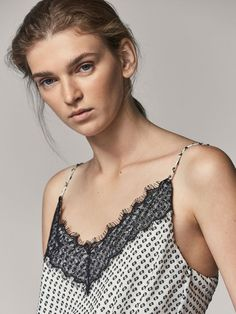 Autumn Winter 2017 Women´s DOTTED MESH SILK TOP WITH LACE TRIM DETAIL at Massimo Dutti for 24.95. Effortless elegance!