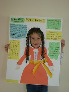 "This is a very cute idea for a biography project. This girl did her poster and report on Helen Keller. I think that this would be a great idea for doing an ""All About Me"" project as well."