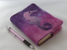 A6 Removeable Journal Notebook Cover - Seahorse by Deborah Iden, available on Folksy.  See more by LittleDeb at:  www.facebook.com/LittleDebFelts