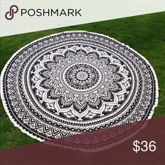 FLASH SALE ⚡️Mandala round lotus beach throw. Gorgeous black and white round throw. Perfect for any outing, can be used as a cover-up or beach skirt as well! Chiffon material provides softness and luxury! Swim Coverups