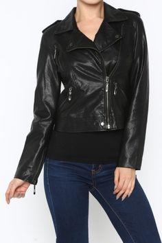 *** aux Leather Moto Jacket *** Long sleeve exposed zipper hardware detailing all over jacket ,