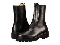 MM6 Maison Margiela Center Zip Combat Boot Black - Zappos Couture