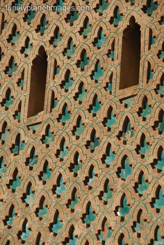 Detail of the minaret of the Kasbah Mosque.  Marrakesh, Marrakesh, Morocco, North Africa, Africa