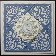 Blue and White classic design by Sue Wilson Sue Wilson, Happy Birthday, Birthday Cards, Tonic Cards, Spellbinders Cards, Card Companies, Embossed Cards, Die Cut Cards, Marianne Design
