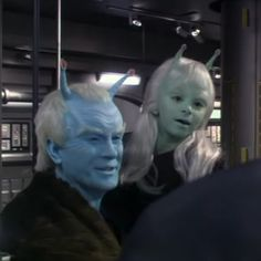 Thy'lek Shran with daughter Talla. I've never watched this episode (since I've mainly just watched TOS) so I don't know anything else about it, but awww... what a cute little alien girl! :)