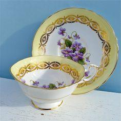 Vintage Paragon Violets and Lemon Tea Cup and Saucer