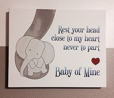 Dumbo Elephant Baby Of Mine Wrapped Canvas 16x20 Great For Nursery / Bedroom