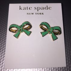 New Kate Spade gold green now earrings studs 14k Brand new with tags. Kate Spade green and gold bow earring studs. 14k gold fill. Comes with Kate spade dust bag. kate spade Jewelry Earrings