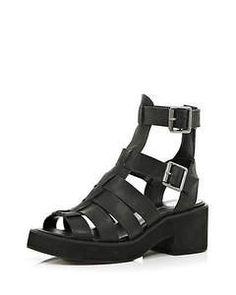 River Island Black block heel gladiator sandals