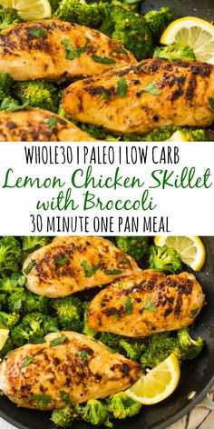 This lemon chicken skillet with broccoli is my favorite quick 30 minute ., Food And Drinks, This lemon chicken skillet with broccoli is my favorite quick 30 minute meal. Skillets are perfect for easy one pan meals that don't take all . Clean Dinners, Clean Eating Recipes For Dinner, Healthy Dinner Recipes, Whole Food Recipes, Clean Eating Chicken, Whole 30 Chicken Recipes, Paleo Chicken Recipes, Whole30 Recipes, Paleo Recipes Easy Quick