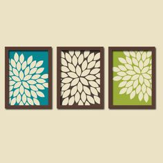 Peacock Colors Turquoise Brown Green Cream Burst Gerbera Daisies Artwork Set of 3 Trio Prints Wall Decor Abstract Art Picture Silhouette. $30.00, via Etsy.