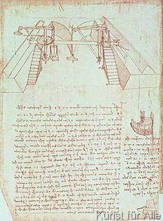 Leonardo da Vinci - Facsimile of Codex Atlanticus 363vb Pulley System for the Construction of a Staircase (original copy in the Biblioteca Ambrosian