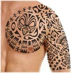 Warrior sleeve and pec tattoo