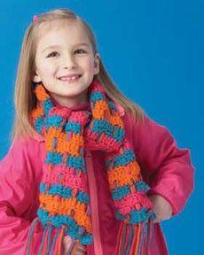 Follow this free crochet pattern to create a child's scarf using Bernat Softee Chunky yarn.