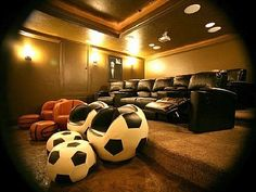 Theater Room with 3 levels of stadium seating. I love the basketball and soccer ball seatings; Theatre Room Seating, Home Theater Rooms, Media Room Decor, Media Rooms, Farm Bedroom, Dream Bedroom, Soccer Ball, Basketball, Soccer Decor
