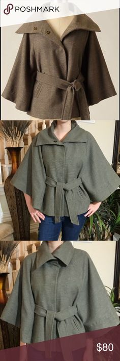 Anthropologie Taikonku Capelet Talk about a showstopper! This one is an absolute must have! This capelet features 2 slit pockets, shawl neckline, invisible snaps, satin lined and in perfect condition. Anthropologie Jackets & Coats Capes