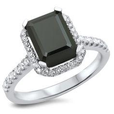 <li>Black and white diamond engagement ring</li><li>18k white gold jewelry</li><li><a href='http://www.overstock.com/downloads/pdf/2010_RingSizing.pdf'><span class='links'>Click here for ring sizing guide</span></a></li>