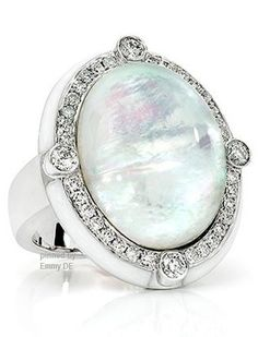 Emmy DE * Ivanka Trump ~ Rock Crystal and Mother of Pearl Cabochon Cocktail Ring with Diamond Aaccents