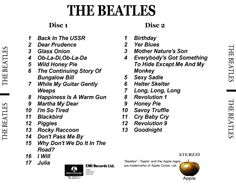 The Beatles - The White Album, Disc 1 and Disc 2
