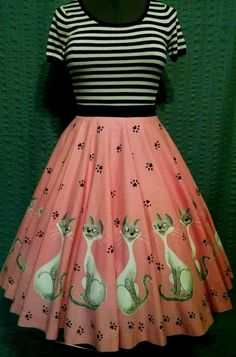 Vintage 1950s Lady And The Tramp Disney 16 Panel Kit Circle Skirt Pink Si & Am #Handmade