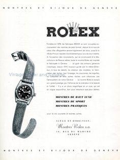 1942 Montres Rolex SA Vintage Swiss Advert Publicite Suisse 1940s Rolex Watch Co Switzerland
