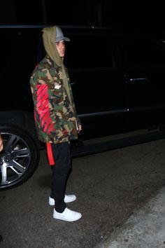 Justin Bieber wearing Off-White c/o Virgil Abloh Camouflage Sport Jacket, Vans Men's Classic Slip-On Sneaker, James Perse Cotton Flannel Trucker Hat