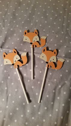 Fox cupcake topper, fox cake topper, forest party, woodland party decorations…