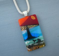 Dichroic Glass Pendant Fused Glass Pendant Glass Image by GlassCat, $35.00