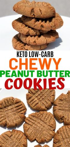 Keto peanut butter cookies made with swerve sweetener. Low carb peanut butter cookies that can be made with only 4 ingredients Keto peanut butter cookies made with swerve sweetener. Low carb peanut butter cookies that can be made with only 4 ingredients Chewy Peanut Butter Cookies, Low Carb Peanut Butter, Low Carb Sweets, Low Carb Desserts, Keto Cookies, Tates Cookies, Chip Cookies, Good Healthy Recipes, Healthy Food