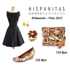 b6545856b5b839 Spring look - Wear a match made shoes-bag with floral print and a simple  black dress!