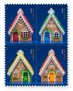 New Gingerbread Houses Forever Stamps