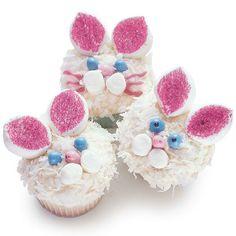 Sweet Easter Bunny Cupcakes Recipe  ears-large marshmellow  cheecks-mini marshmellow  nose= jelly bean  eyes- chewable sweet tarts