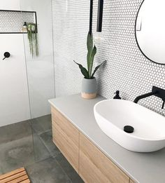 Added a little texture to this ensuite with these beautiful matte penny round tiles . - Added a little texture to this ensuite with these beautiful matte penny round tiles . Bathroom Inspiration, Bathroom Interior, House Interior, Round Tiles, Home, Interior, Ensuite, Bathroom Design Small, Penny Round Tiles