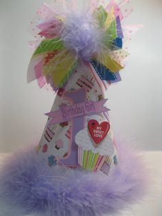 Personalized  Cupcake Birthday Party Hat by DoodlesDotsnDimples, $12.99