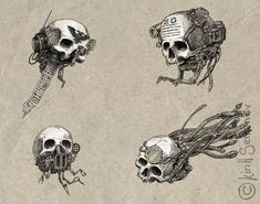 Great bunch of tat ideas :)    Servo skulls by Skirill.deviantart.com