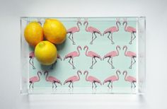 Hollywood Regency Mint Flamingo Lucite Tray with Handles Shown in 13 x 8 x 2 [Available sizes: 8 x 6 x 1.6 // 13 x 8 x 2 // 12 x 12 x 2 // 19 x 13 x 2]