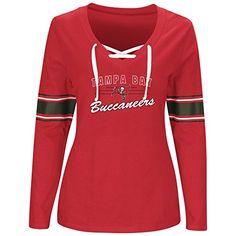 NFL womens BUCS L/S JERSEY  V NECK TEE  https://allstarsportsfan.com/product/nfl-womens-bucs-ls-jersey-v-neck-tee/  nfl plus women's long sleeve jersey vee neck lace up – 100% cotton