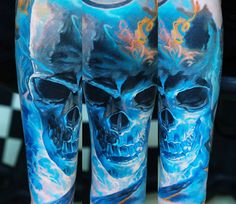 Realistic Skull Tattoo by Domantas Parvainis | Tattoo No. 13790
