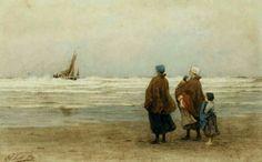 Philip Lodewijk Jacob Frederik Sadée (1837 -1904). Angstige momenten bij het binnelopen van de bomschuit bij ruwe zee. Visservrouwen met kinderen kijken bezorgd toe als hun mannen proberen de bomschuit bij harde wind en ruwe zee op het strand te zetten.