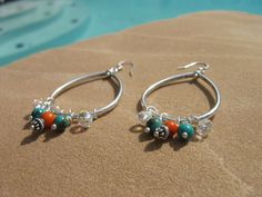 Orange coral/turquoise chandelier earrings by fleurdesignz on Etsy, $12.00  Come take a look at my shop at Etsy.com.