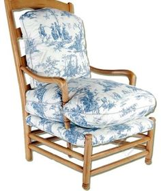 """Custom-made Wooden ladder back arm chair with upholstered cushions. Specifications: Width: 30"""", Depth: 32"""", Ht: 44"""""""