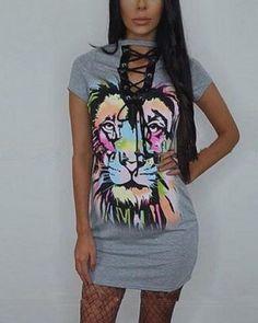 8b39a548c6 Unique printed lace up t shirt dress deep v neck animal lion pattern for  women