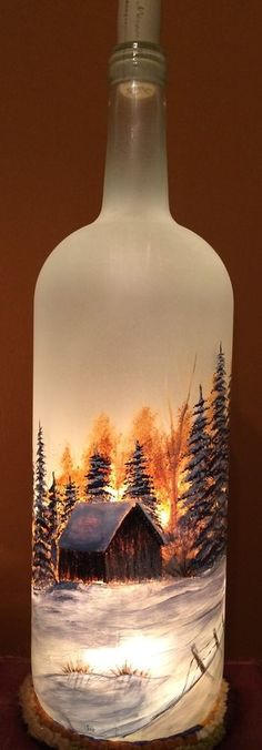 Large Hand Painted Frosted Glass Lighted Wine Bottle with Trees and Barn | eBay